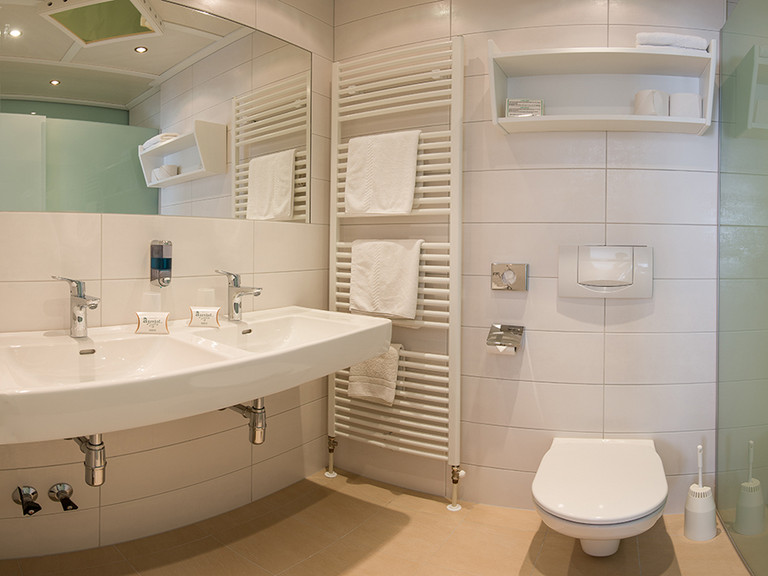 Bathrooms at the Family and Vitality Hotel Auenhof